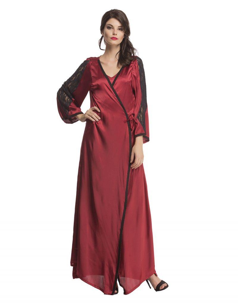 74f3359a36 Buy Clovia Satin Nightwear Set Of Long Nighty   Robe In Maroon ...