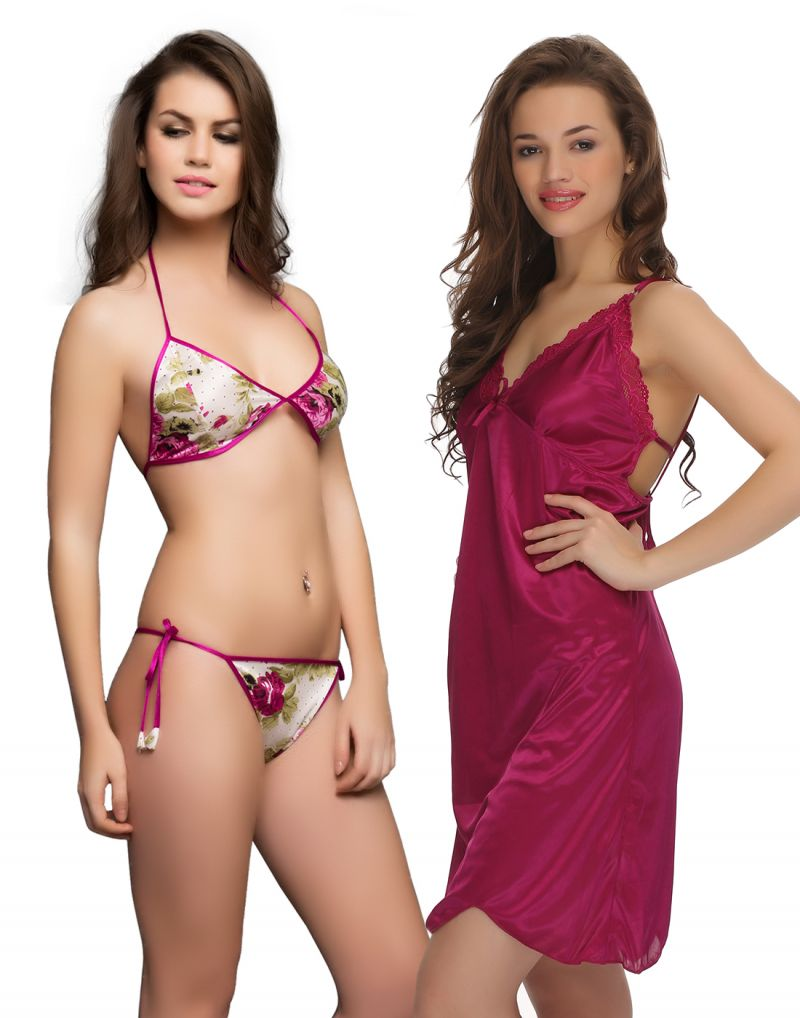 Buy Maroon Sexy Short Nightdress And Bra & Brief Set online