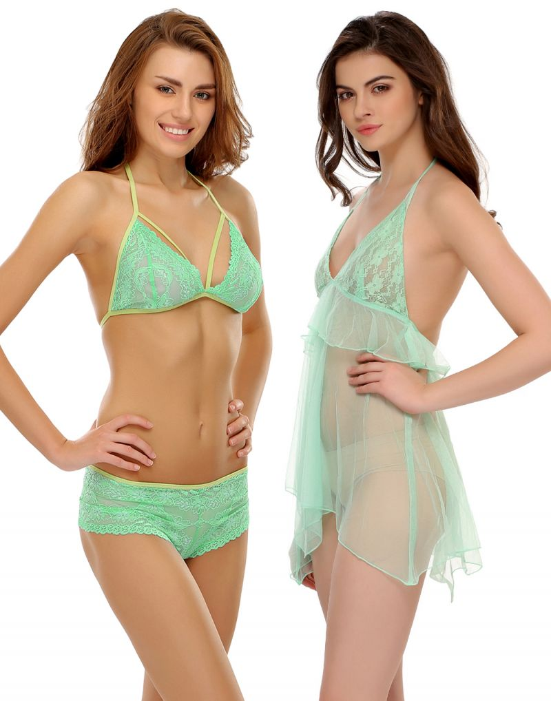 Buy Clovia Mint Green Seductive Babydoll In Mesh With Bra & Brief Set online