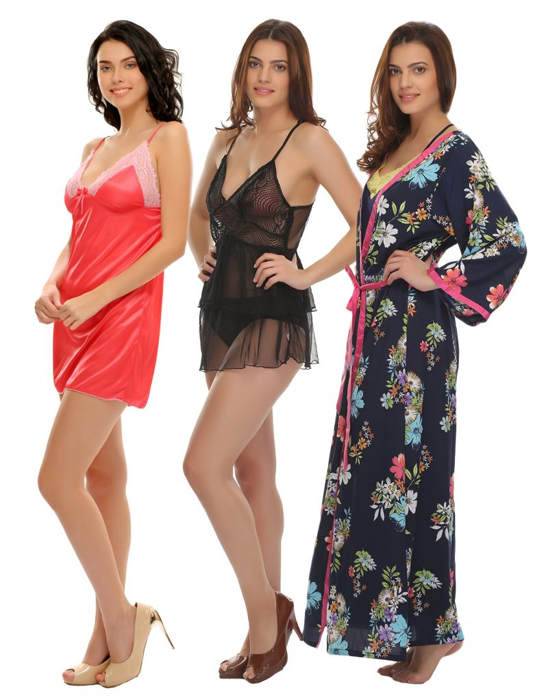 Buy Clovia Set Of 3 Sexy Back Sheer Babydoll With Robe online