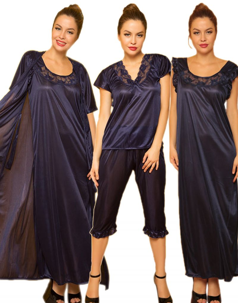 Buy 4 PCs Freesize Stretchable Satin Nightwear In Navy online