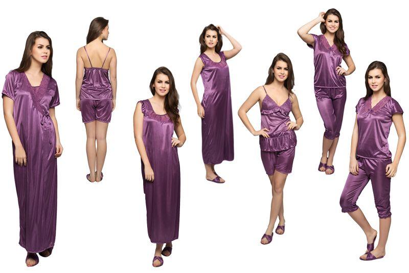 Buy Clovia 6 PCs Satin Nightwear Gift Set In Purple online