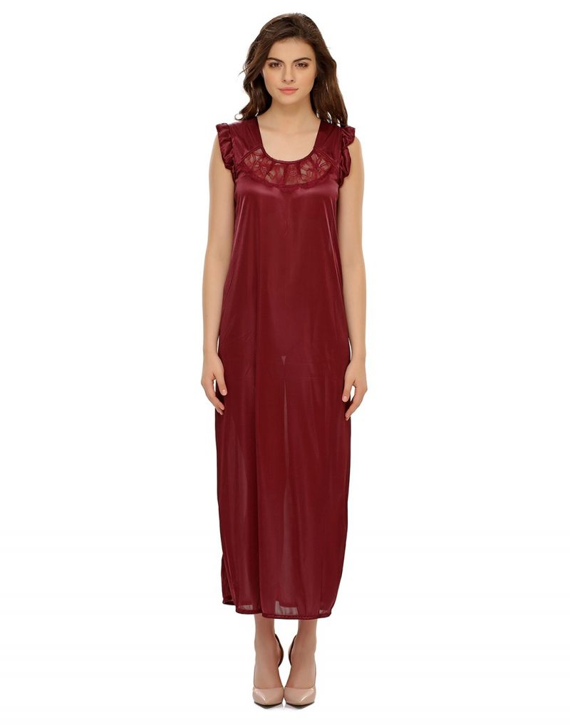 Buy Clovia Satin Nighty In Maroon online
