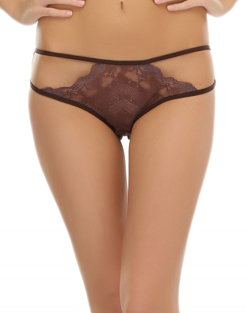 Buy Clovia Strappy Dark Brown Lace Bikini Pn0354p06 online