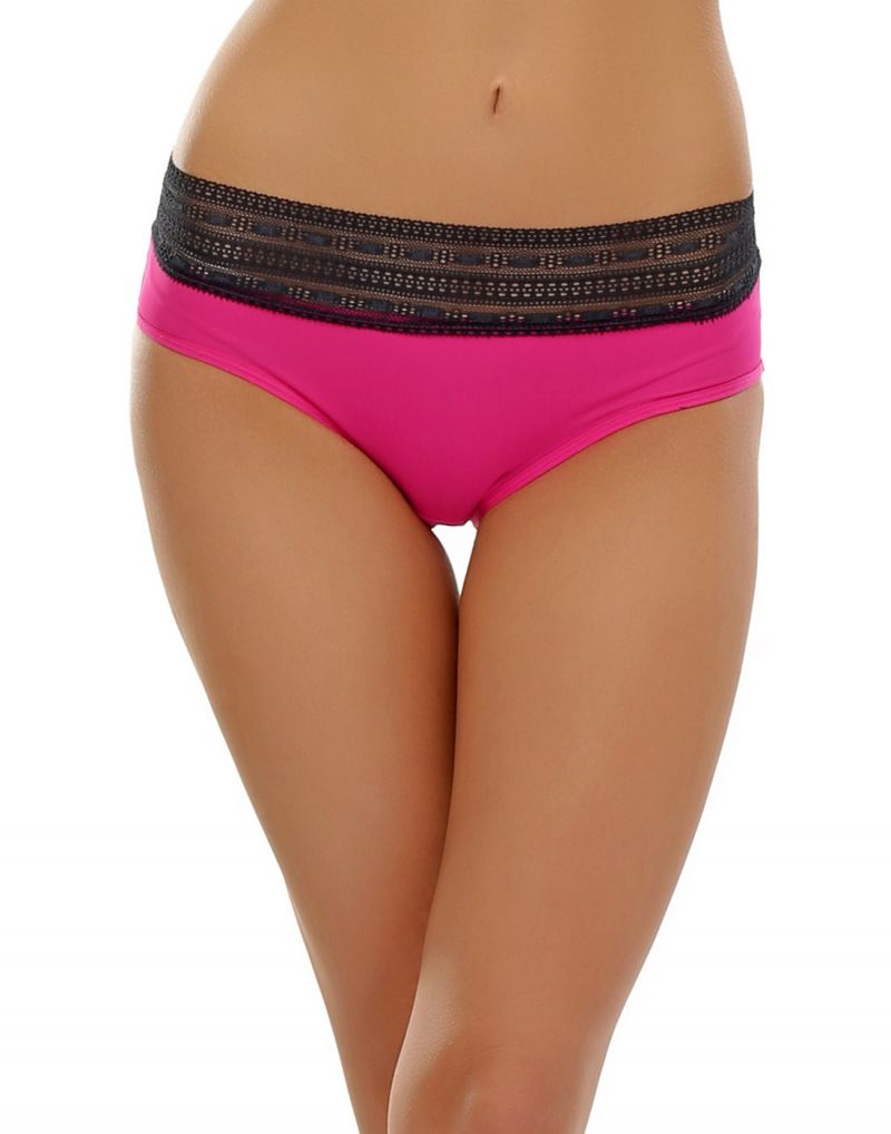 Buy Clovia Neon Pink Hipster With Lace Trim Pn0379p14 online