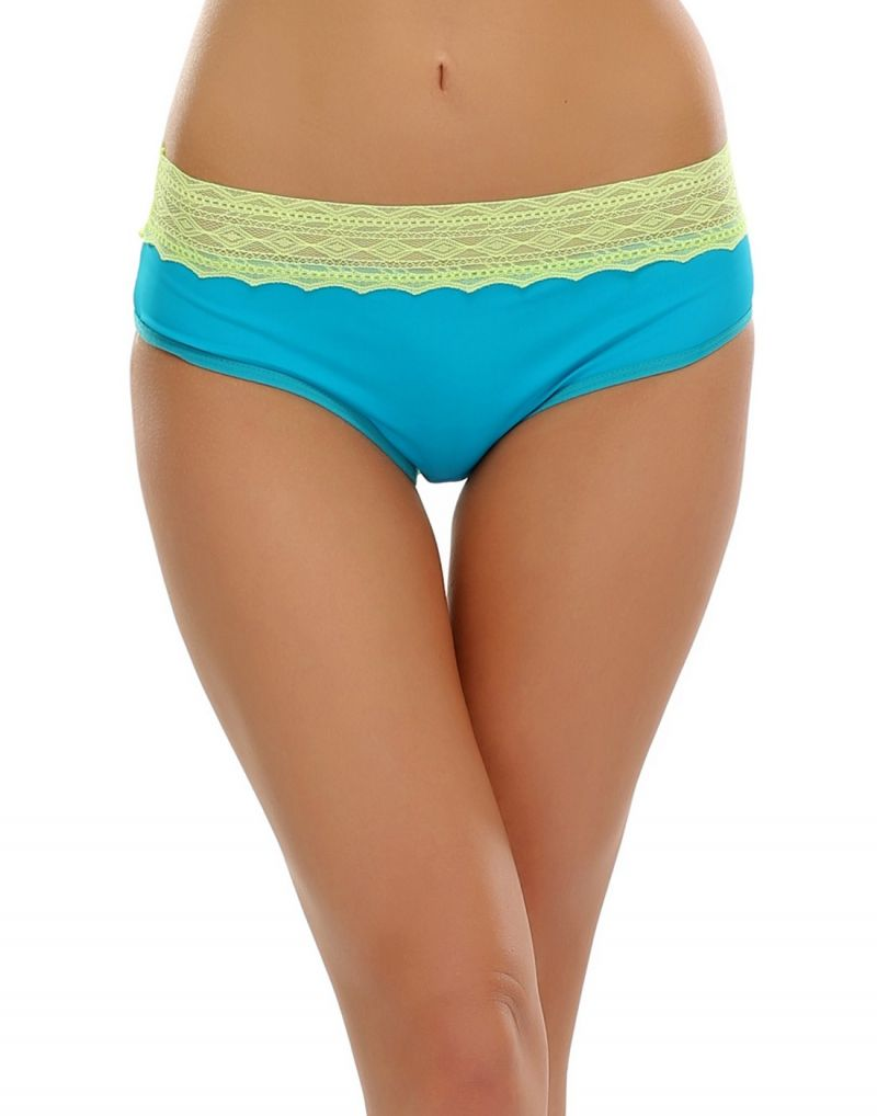 Buy Clovia Trendy Lacy Brief In Turquoise & Fluorescent Pn0381p03 online