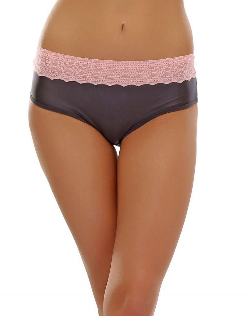 Buy Clovia Trendy Lacy Brief In Grey & Peach Pn0381p05 online