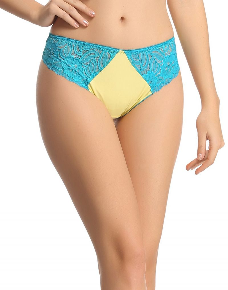 Buy Clovia Yellow Lacy Low Waist Thongs Pn0402p02 online