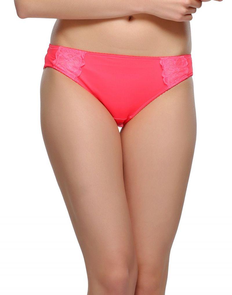 Buy Clovia Neon Pink Bikini With Lace Pn0410p22 online