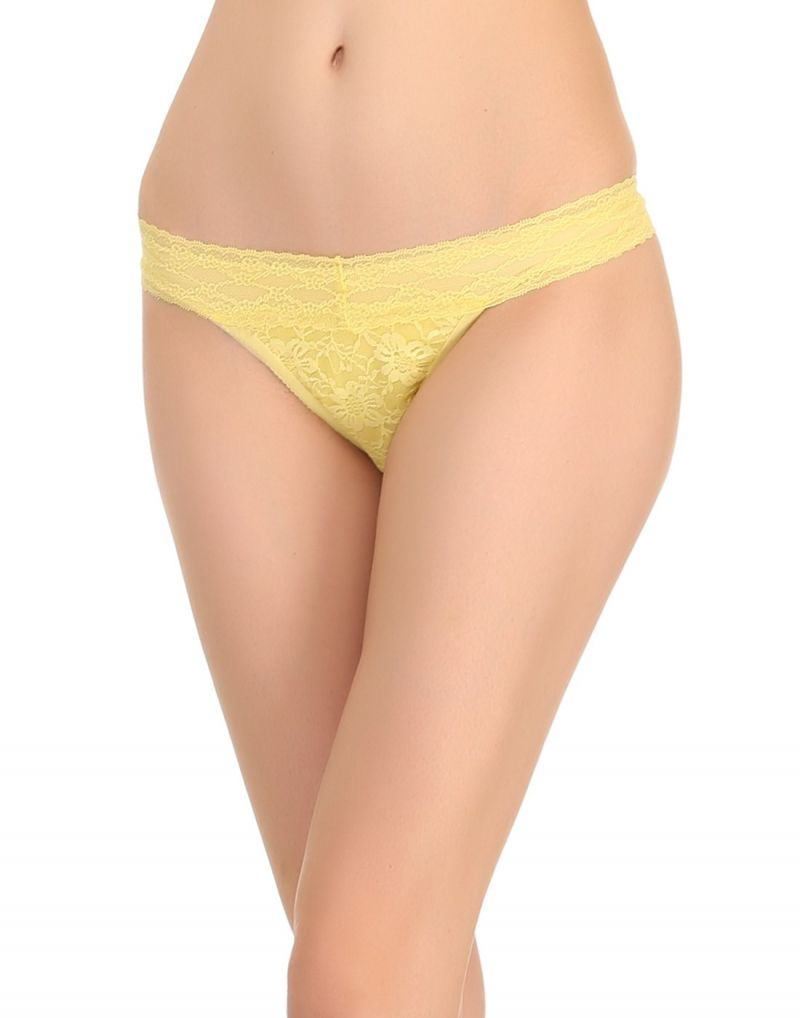 Buy Clovia All Over Lace Thong In Yellow Pn0442p02 online
