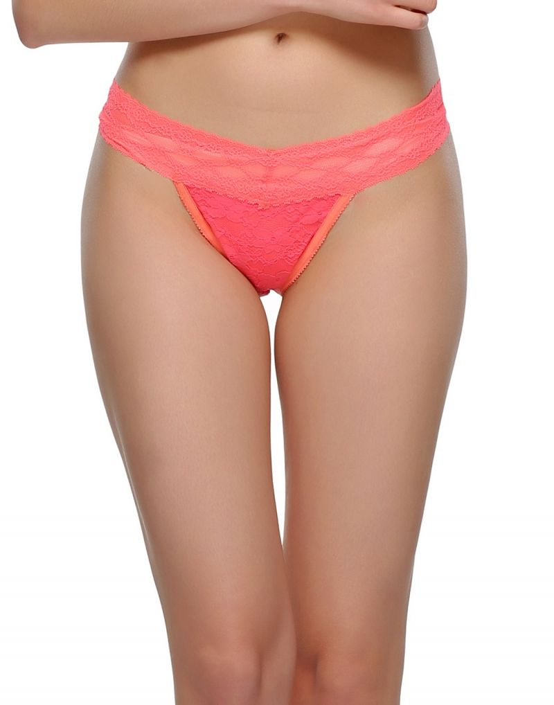 Buy Clovia All Over Lace Thong In Neon Pink online