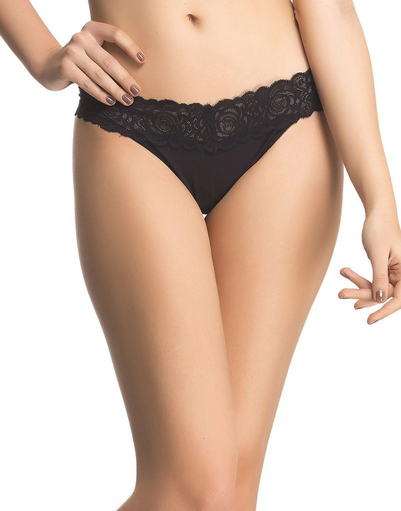 Buy Clovia Floral Lace Thong In Black Pn0451p13 online