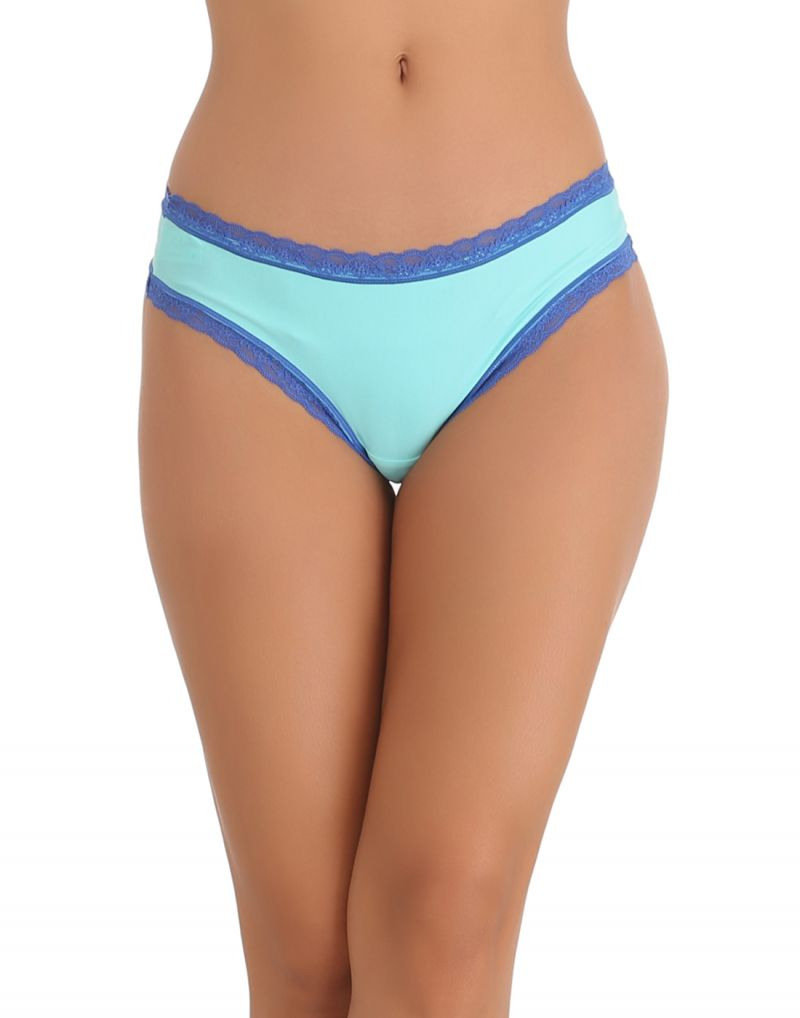Buy Clovia Thong In Sea Green With Contrast Lace -(product Code- Pn0526p11) online
