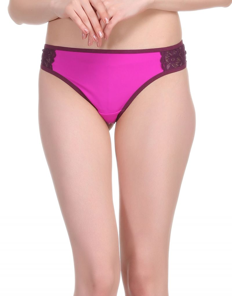 Buy Clovia Polyamide & Lace Bikini Brief In Purple online