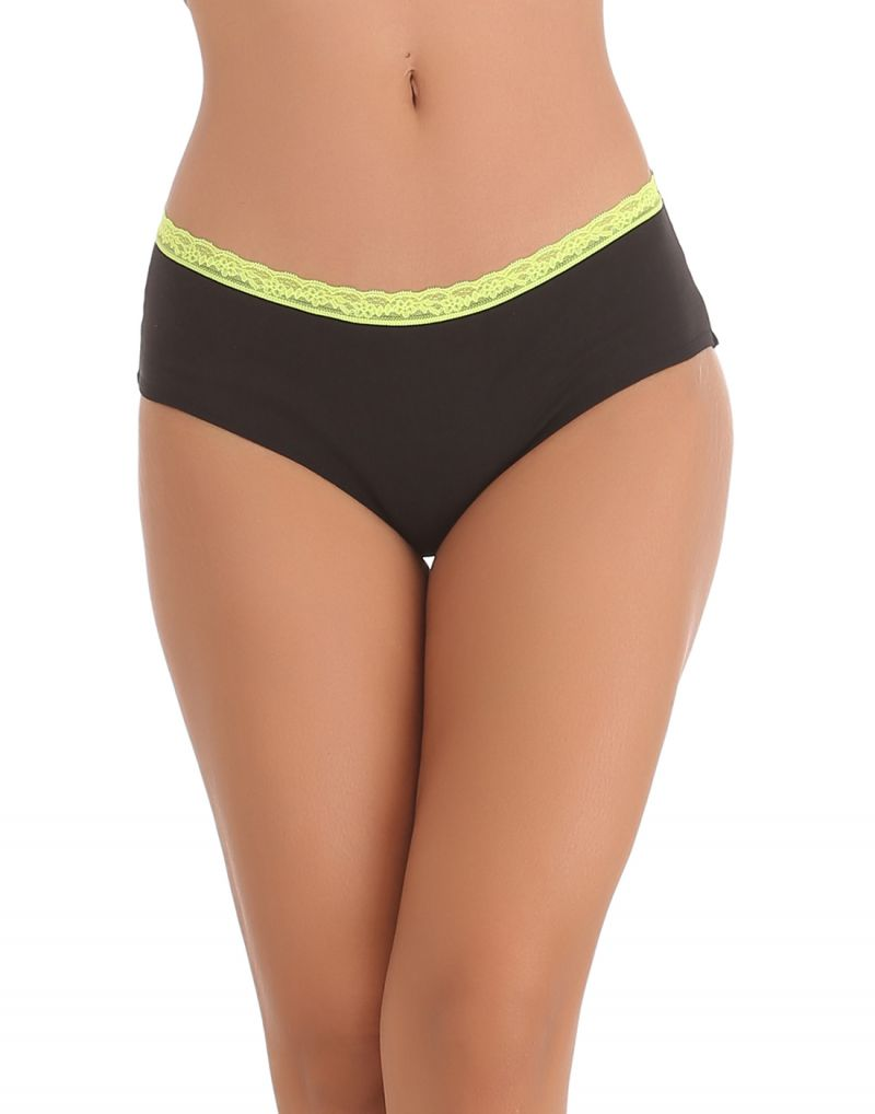Buy Clovia Cotton Lycra Hipster With Contrast Lace Band At The Waist In Florescent Green -(product Code-pn0588p11) online