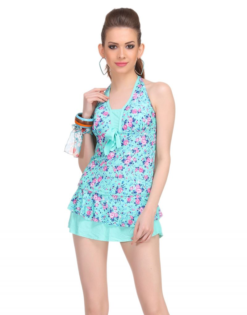 Buy Clovia Two Piece Polyamide Padded Floral Print Swim Suit In Sea Green -(product Code- Sm0046p11) online