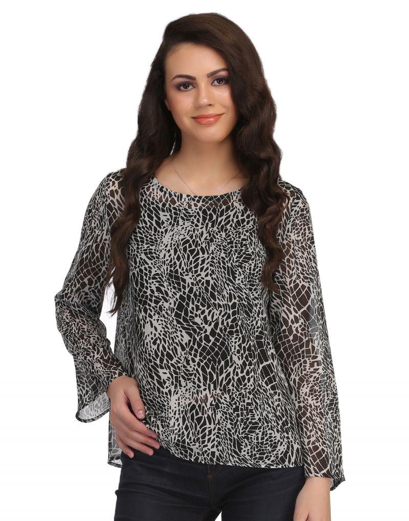 Buy Clovia Full Sleeve Georgette Western Wear In Black -(product Code- Ww0007p13) online