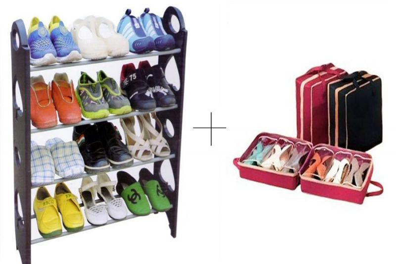 Buy 12 Pair Stackable Shoe Rack With With Shoe Tote - 12shwstsr online