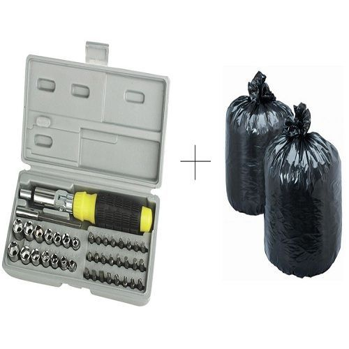 Buy Buy Disposables Garbage Bag 150 PCs With Free 41 PCs Toolkit Screwdriver Set - 41grb150 online
