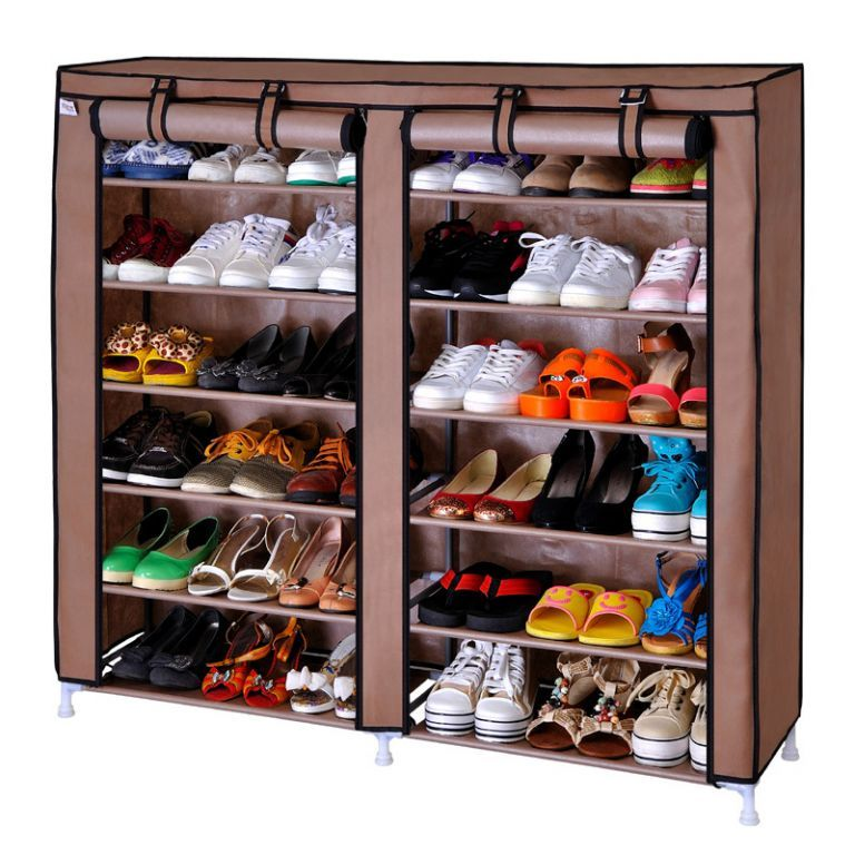 Buy 6 Layer 24 Pair Dual Double Side Shoe Rack Wardrobe Water Proof With Cover online