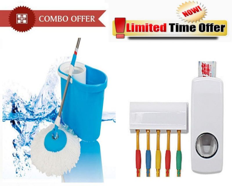 Buy Special Combo Offer! Easy Floor Cleaning Mop With Toothpaste Dispenser online