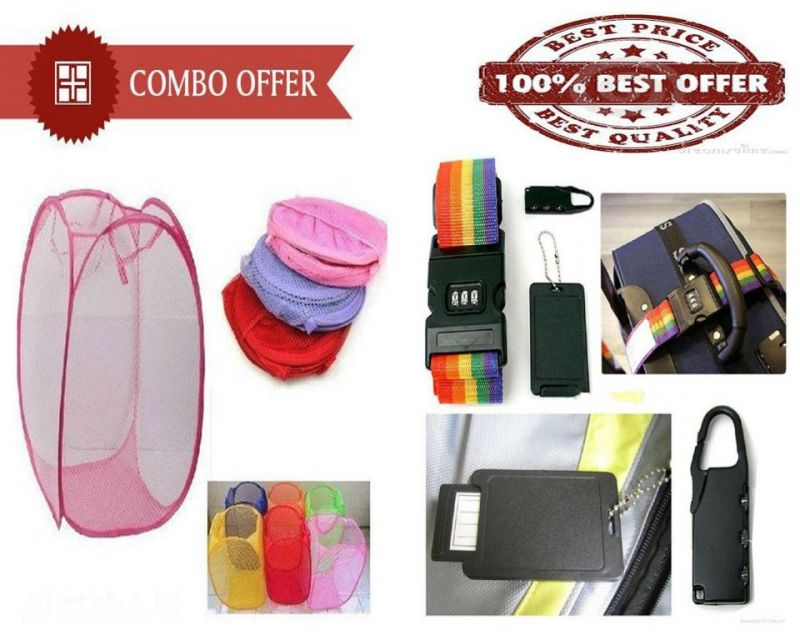 Buy Special Combo Offer - Laundry Clothes Flexible Hamper Bag And Travel Bag Belt online