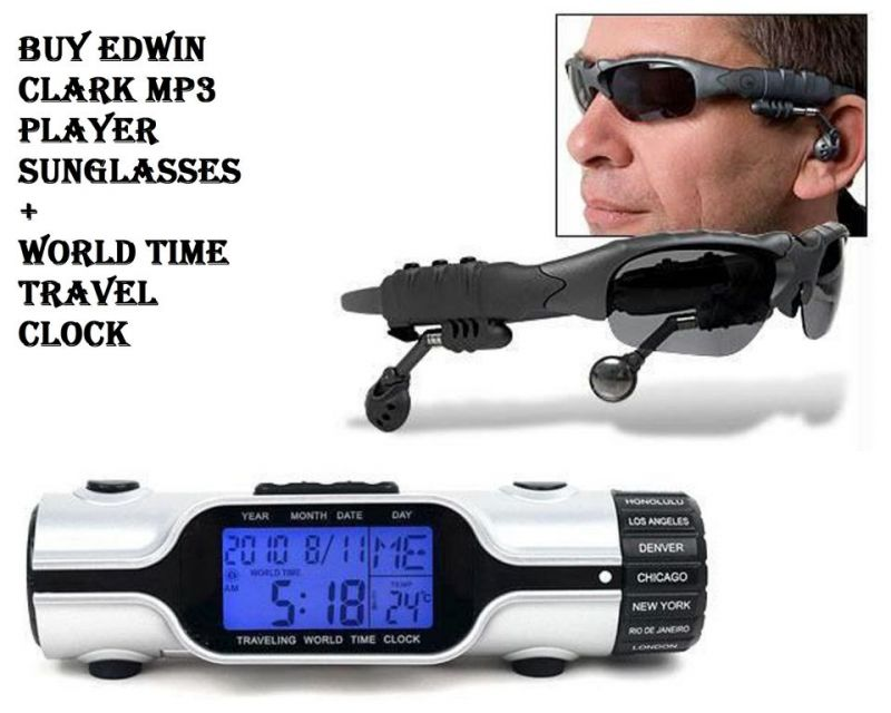 Buy Buy Edwin Clark MP3 Player Sunglasses Goggles World Time Travel Clock online