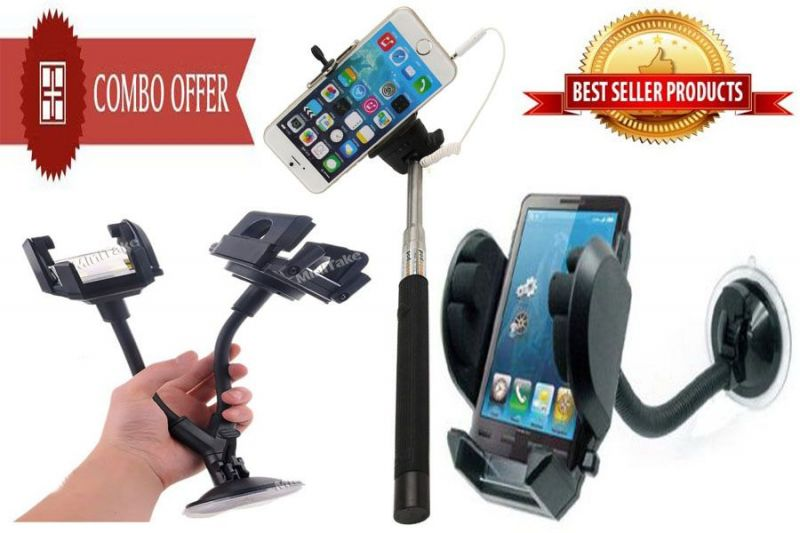 Buy Selfie Stick Mobile Stand Mount and Car Dual 2 Mobile Stand online
