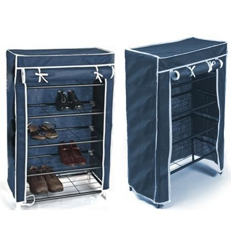 Buy Portable Folding 4 Layer Tier Shoe Rack With Wardrobe Cover Durable Js online