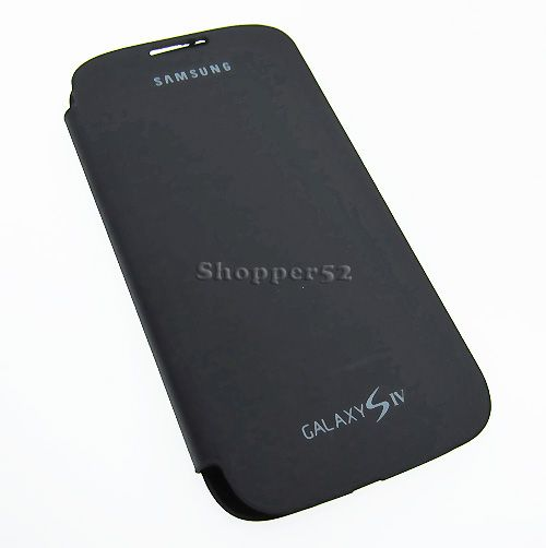 reputable site 35688 17896 Black Samsung Galaxy S4 I9500 Leather Flip Cover Back Case