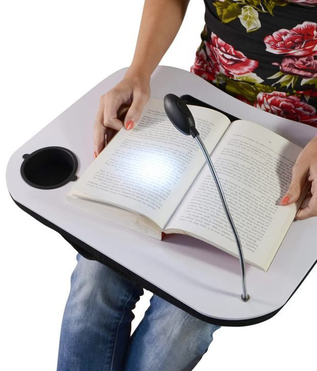 Buy Portable Grey Multifunction Laptop Cushion Stand Tray With 5 LED Light online
