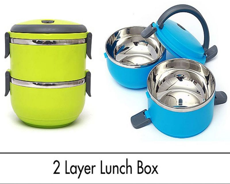 Buy Stainless Steel Double Layer Lunch Box 2Pcs 1400Ml online