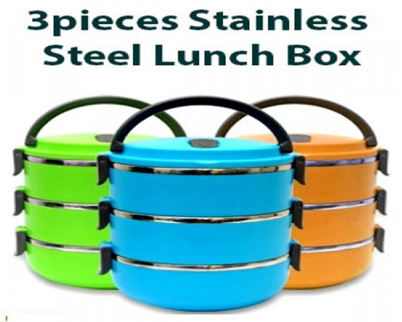 Buy Stainless Steel Double Layer Lunch Box 3Pcs 2100Ml online