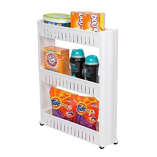 Buy Vertical 3 Layer Space Saving Storage Rack With Rubber Wheels. Kitchen & Bathroom Organizers online