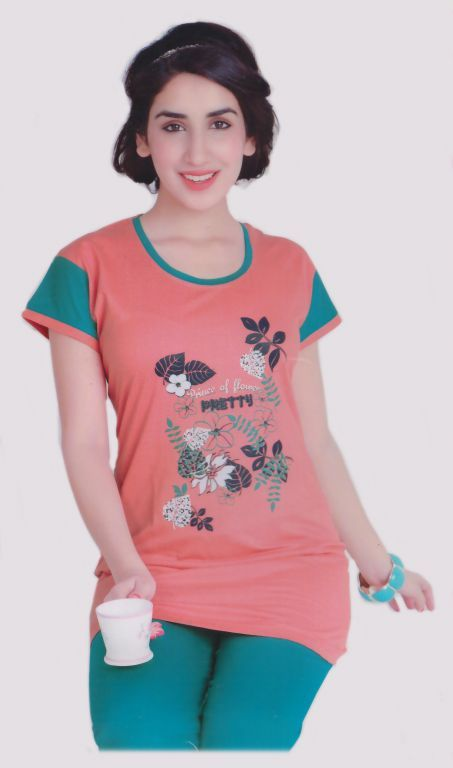 Buy Peach And Green Cotton 2 PCs Comfortable To Wear 3/4 Nighty online