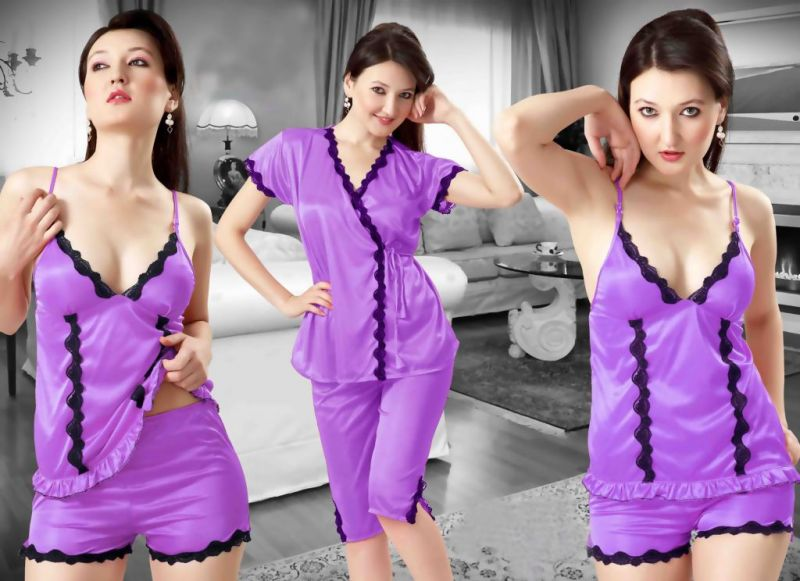 Buy Purple Satin 4 PCs Comfortable To Wear 3/4 Nighty online