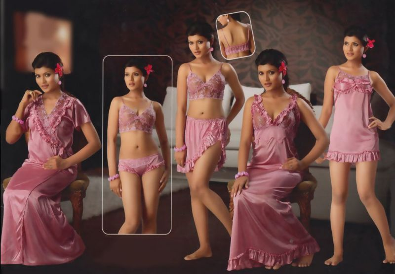 Buy Peach Satin 6 PCs Comfortable Nighty To Wear online