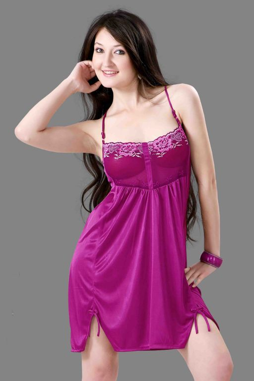 Buy Satin Comfortable To Wear 3/4 Nighty 1 PC online