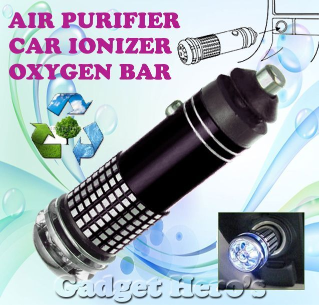 Buy Gadget Hero's Mini Car Auto Ionizer Fresh Air Purifier Oxygen Ozone Bar online