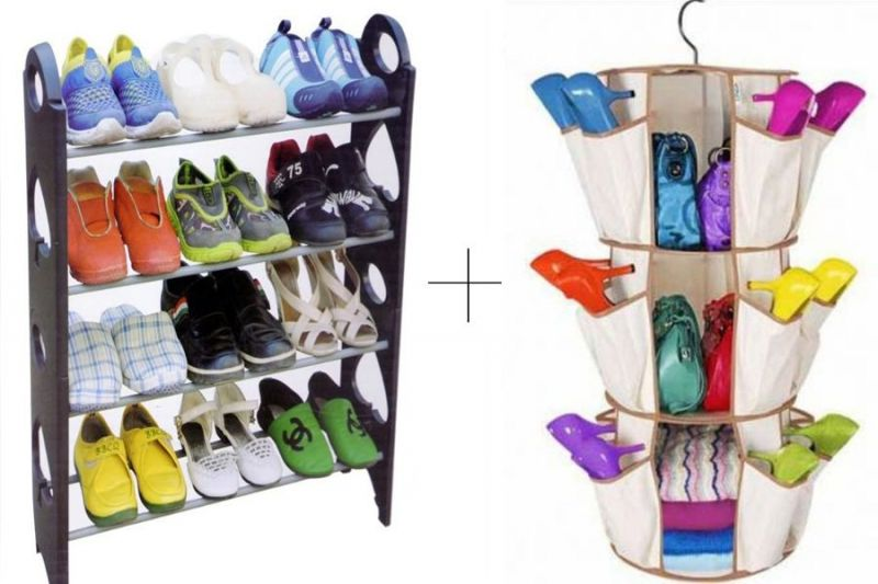 Buy 12 Pair Stackable Shoe Rack With With Smart Carousel Organiser online