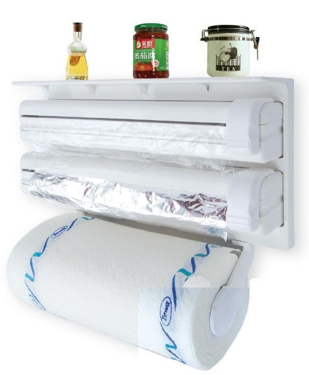 Buy Triple Paper Dispenser For Cling Film Wrap Aluminium Foil And Kitchen Roll online
