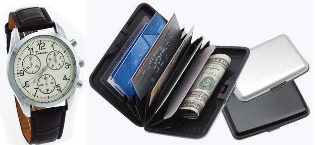 Buy Men's Wrist Watch + Data Secure Aluminium Wallet Combo online