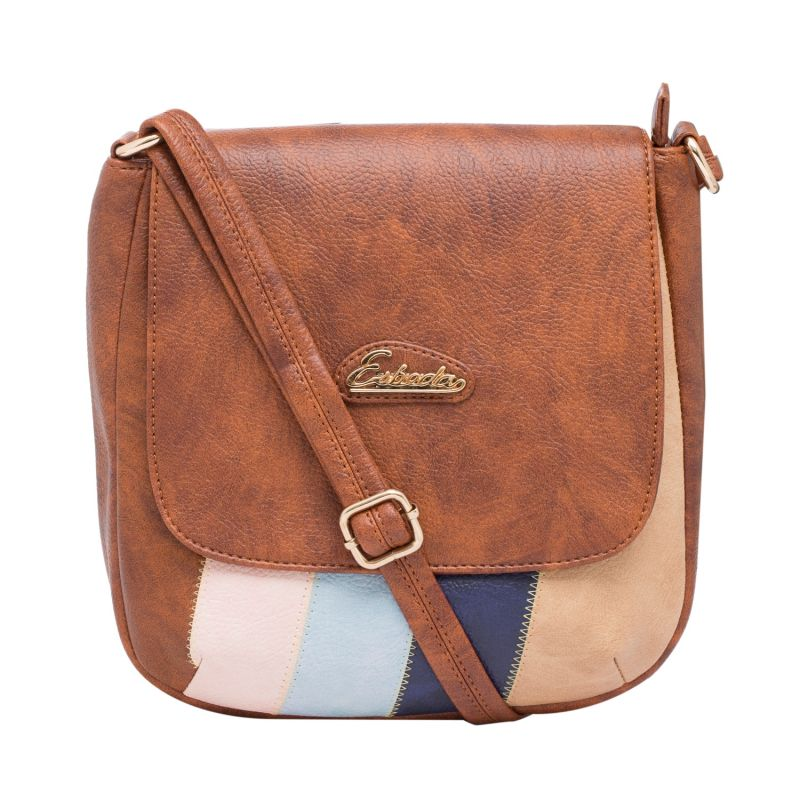 Buy Esbeda Tan Color Solid Pu Synthetic Material Slingbag For Women online