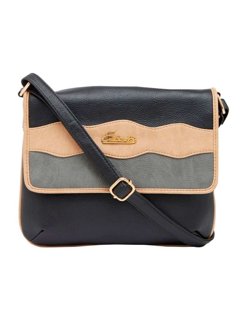 Buy Esbeda Black Color Stripe Pu Synthetic Material Slingbag For Women online