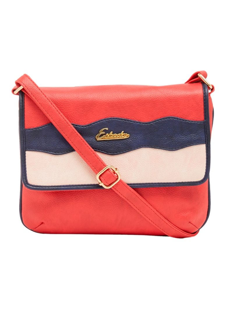 Buy Esbeda Red Color Stripe Pu Synthetic Material Slingbag For Women online