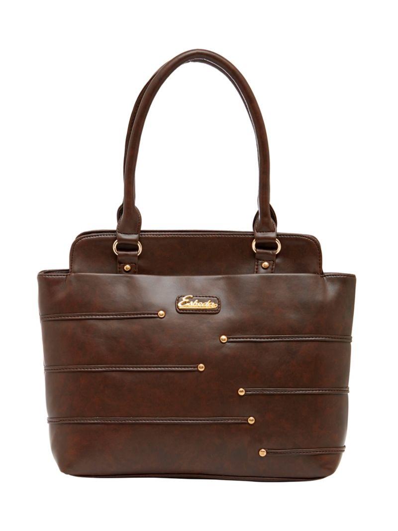 Buy Esbeda Dark-brown Color Solid Pu Synthetic Material Handbag For Women-1867 online