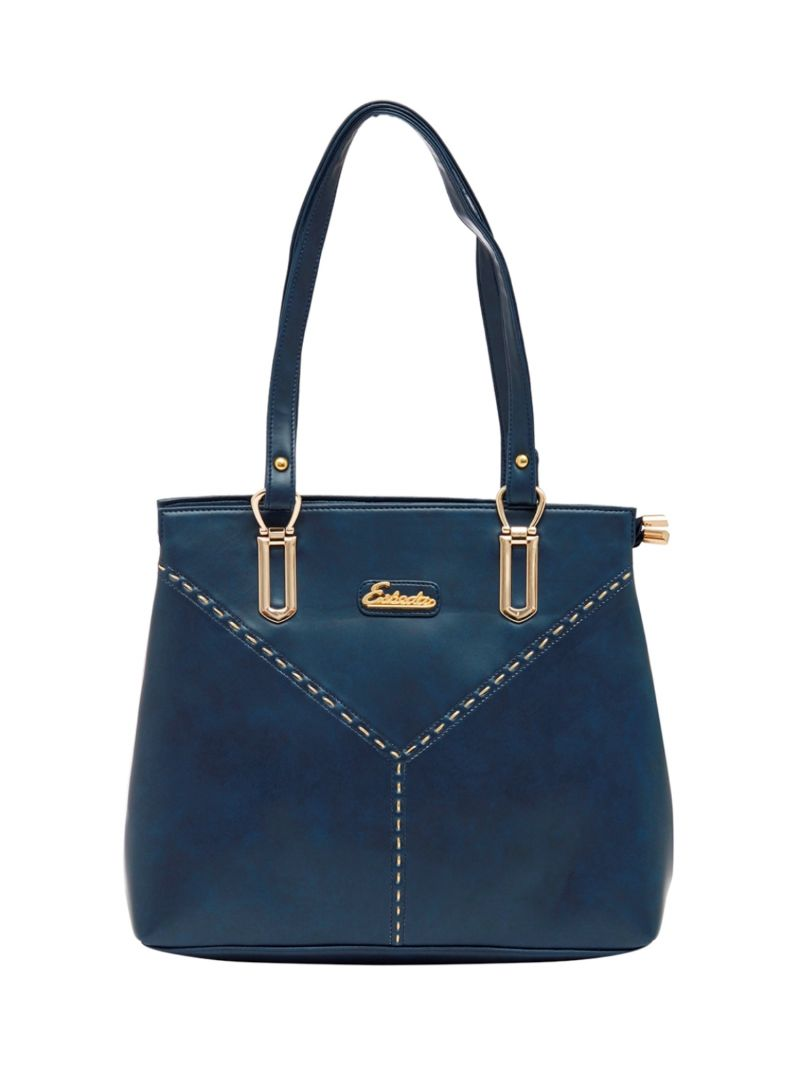Buy Esbeda Dark-Blue Color Solid Pu Synthetic Material Handbag For Women online