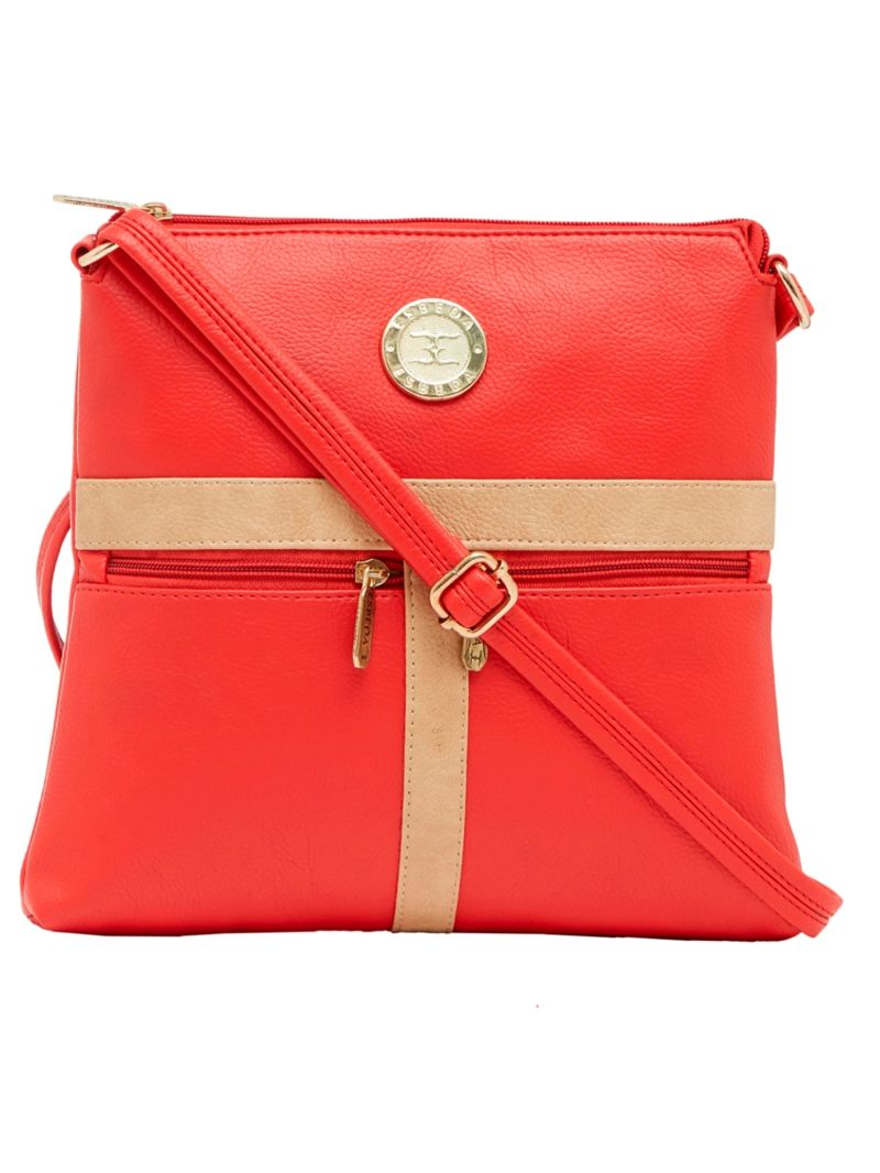 Buy Esbeda Red Color Solid Pu Synthetic Material Slingbag For Women online