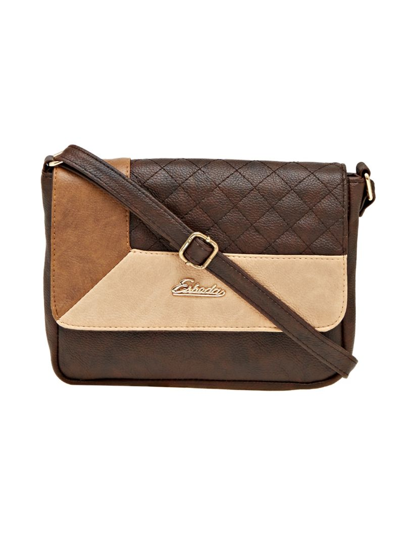 Buy Esbeda Brown Checkered Pu Synthetic Material Slingbag For Women online