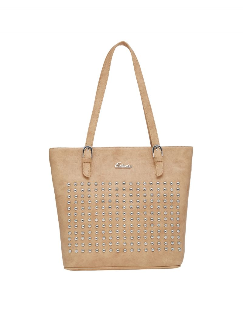 Buy Esbeda Beige Polka Dots Pu Synthetic Material Handbag For Women(code-2175) online